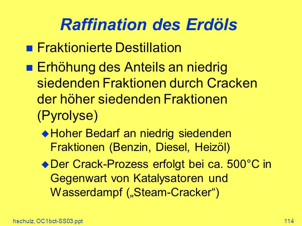 hschulz, OC1bct-SS03.ppt114 Raffination des Erdöls Fraktionierte Destillation Erhöhung des Anteils an niedrig siedenden Fraktionen durch Cracken der höher siedenden Fraktionen (Pyrolyse) Hoher Bedarf an niedrig siedenden Fraktionen (Benzin, Diesel, Heizöl) Der Crack-Prozess erfolgt bei ca.