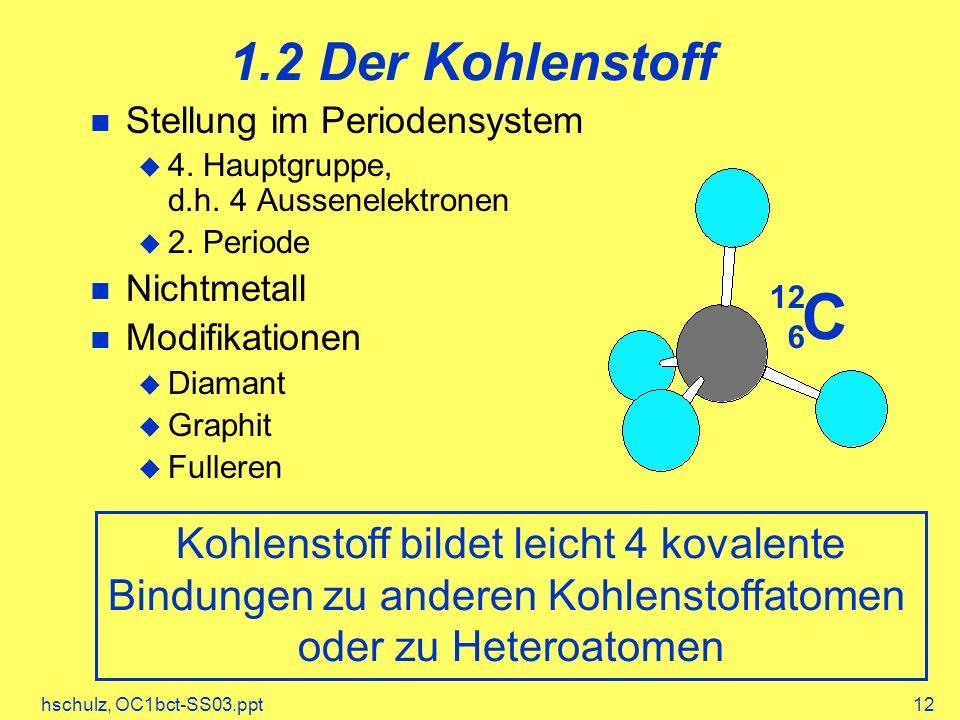 hschulz, OC1bct-SS03.ppt12 1.2 Der Kohlenstoff Stellung im Periodensystem 4. Hauptgruppe, d.h. 4 Aussenelektronen 2. Periode Nichtmetall Modifikatione