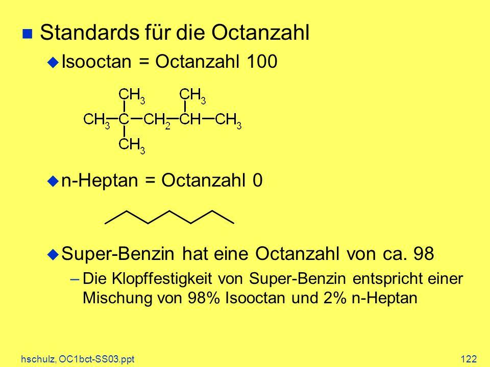 hschulz, OC1bct-SS03.ppt122 Standards für die Octanzahl Isooctan = Octanzahl 100 n-Heptan = Octanzahl 0 Super-Benzin hat eine Octanzahl von ca.