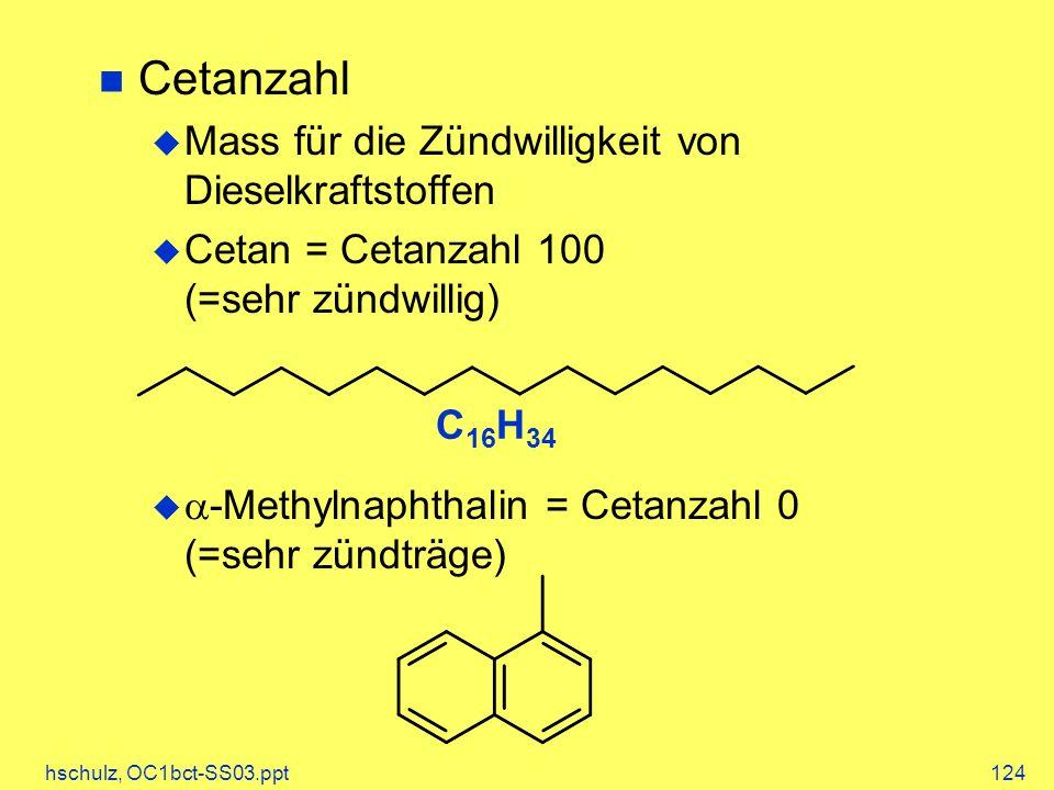 hschulz, OC1bct-SS03.ppt124 Cetanzahl Mass für die Zündwilligkeit von Dieselkraftstoffen Cetan = Cetanzahl 100 (=sehr zündwillig) -Methylnaphthalin = Cetanzahl 0 (=sehr zündträge) C 16 H 34