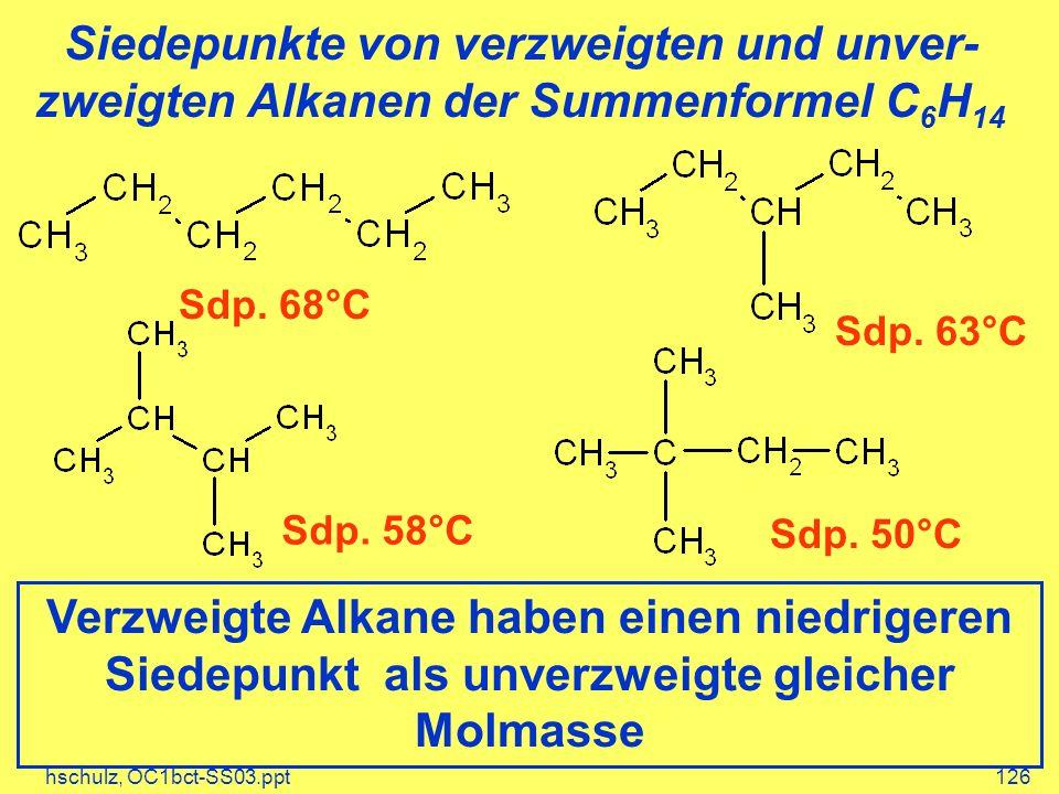 hschulz, OC1bct-SS03.ppt126 Siedepunkte von verzweigten und unver- zweigten Alkanen der Summenformel C 6 H 14 Sdp. 68°C Sdp. 63°C Sdp. 58°C Sdp. 50°C