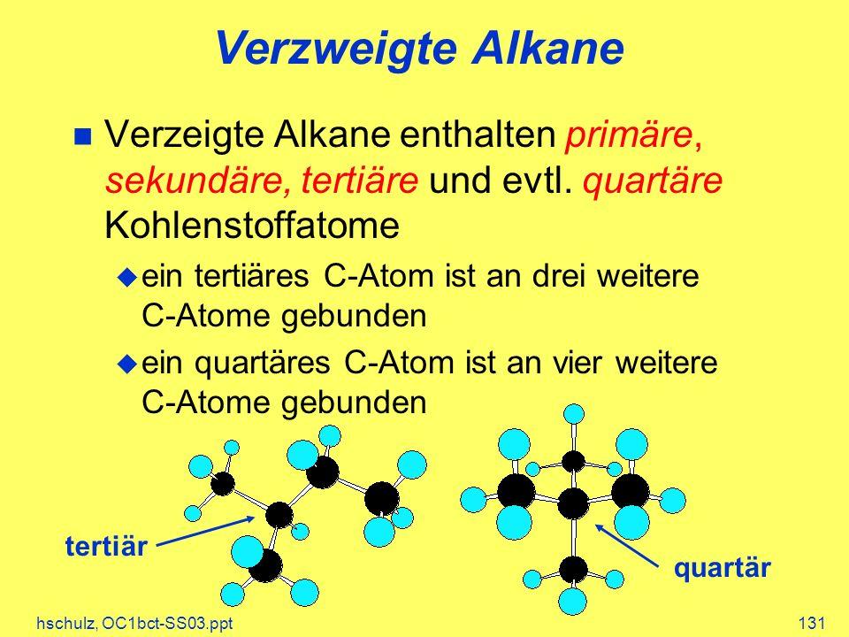 hschulz, OC1bct-SS03.ppt131 Verzweigte Alkane Verzeigte Alkane enthalten primäre, sekundäre, tertiäre und evtl. quartäre Kohlenstoffatome ein tertiäre