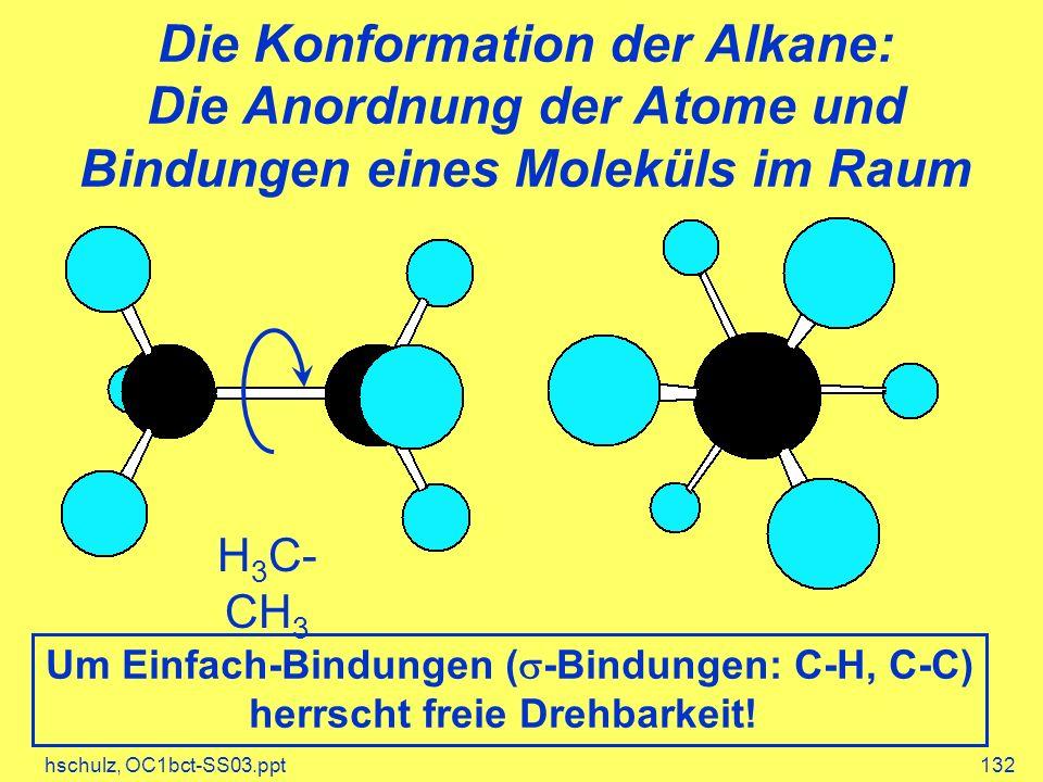hschulz, OC1bct-SS03.ppt132 Die Konformation der Alkane: Die Anordnung der Atome und Bindungen eines Moleküls im Raum H 3 C- CH 3 Um Einfach-Bindungen