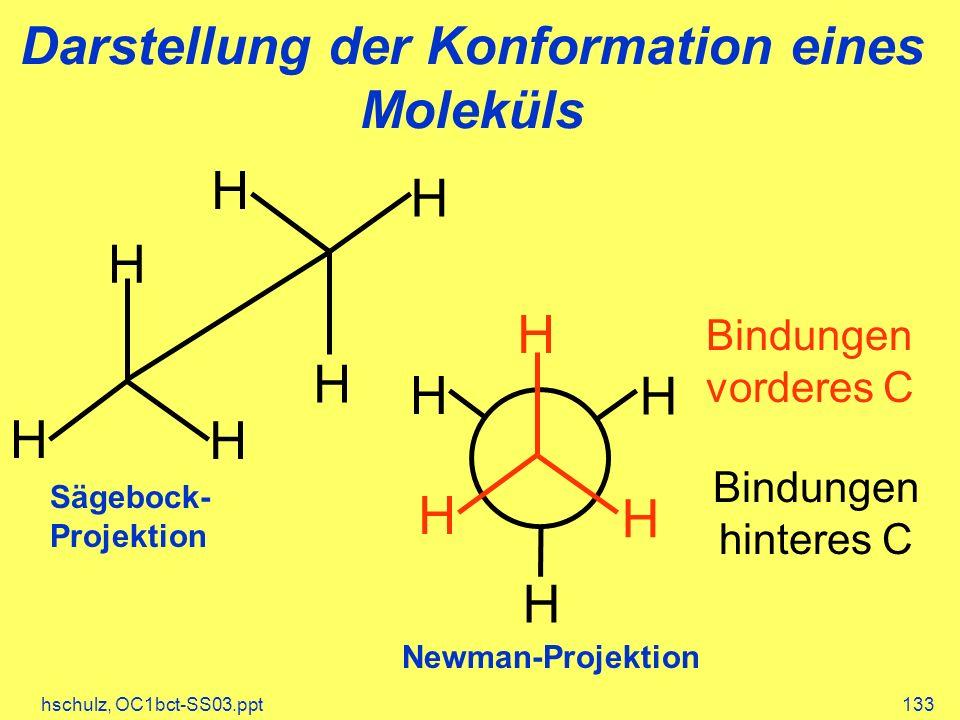 hschulz, OC1bct-SS03.ppt133 Darstellung der Konformation eines Moleküls H H H H H H Sägebock- Projektion Bindungen vorderes C Bindungen hinteres C H H H H H H Newman-Projektion