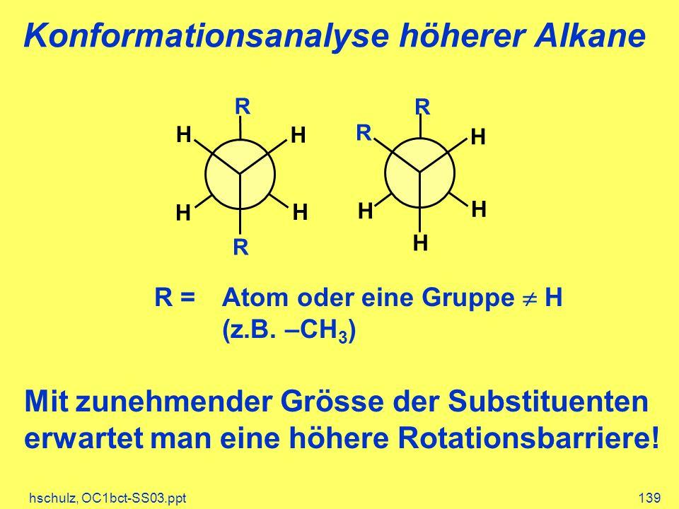hschulz, OC1bct-SS03.ppt139 Konformationsanalyse höherer Alkane H H R H H R H H R R H H R =Atom oder eine Gruppe H (z.B. –CH 3 ) Mit zunehmender Gröss
