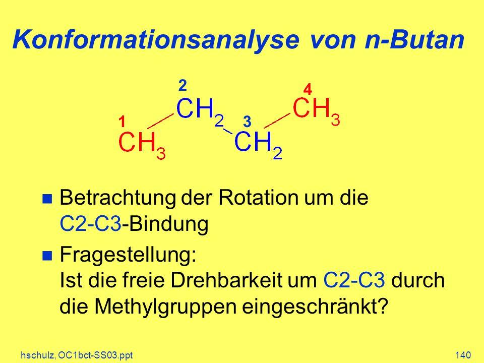 hschulz, OC1bct-SS03.ppt140 Konformationsanalyse von n-Butan Betrachtung der Rotation um die C2-C3-Bindung Fragestellung: Ist die freie Drehbarkeit um C2-C3 durch die Methylgruppen eingeschränkt.