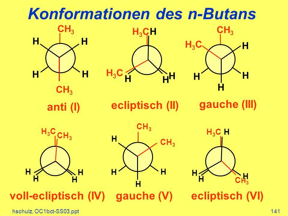 hschulz, OC1bct-SS03.ppt141 Konformationen des n-Butans H H CH 3 H H anti (I) H H H H3CH3C H H3CH3C ecliptisch (II) H H H H3CH3C H CH 3 gauche (III) H H H H3CH3C H CH 3 voll-ecliptisch (IV) H H CH 3 H H gauche (V) H H H H3CH3C H CH3CH3 ecliptisch (VI)