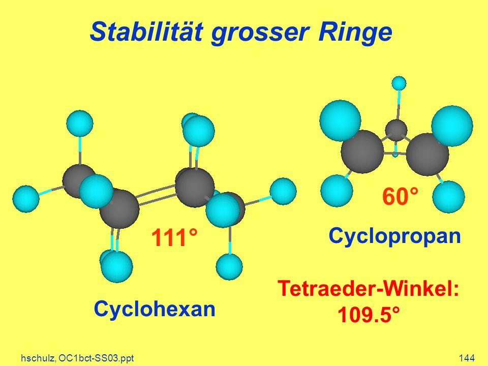 hschulz, OC1bct-SS03.ppt144 Stabilität grosser Ringe Cyclopropan 60° Cyclohexan 111° Tetraeder-Winkel: 109.5°