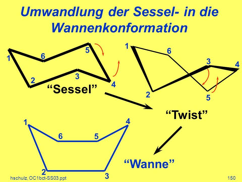 hschulz, OC1bct-SS03.ppt150 Umwandlung der Sessel- in die Wannenkonformation Sessel 4 1 2 3 5 6 Twist 4 1 2 3 5 6 Wanne 5 3 2 1 4 6