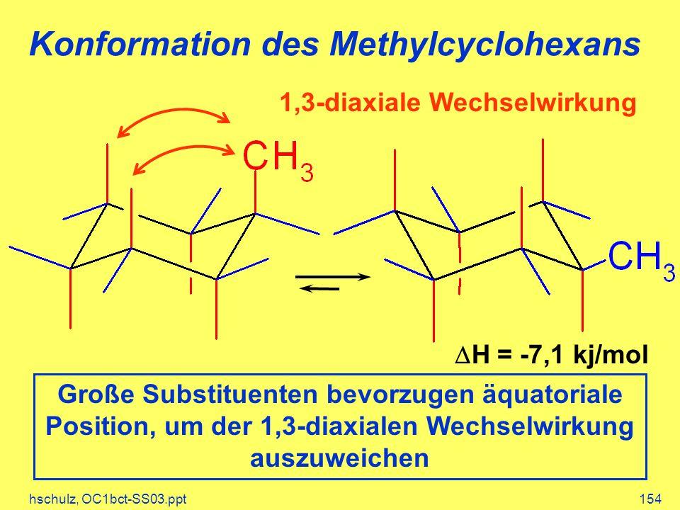 hschulz, OC1bct-SS03.ppt154 Konformation des Methylcyclohexans H = -7,1 kj/mol Große Substituenten bevorzugen äquatoriale Position, um der 1,3-diaxialen Wechselwirkung auszuweichen 1,3-diaxiale Wechselwirkung
