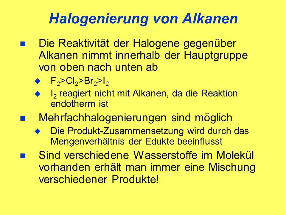 Halogenierung von Alkanen Die Reaktivität der Halogene gegenüber Alkanen nimmt innerhalb der Hauptgruppe von oben nach unten ab F 2 >Cl 2 >Br 2 >I 2 I 2 reagiert nicht mit Alkanen, da die Reaktion endotherm ist Mehrfachhalogenierungen sind möglich Die Produkt-Zusammensetzung wird durch das Mengenverhältnis der Edukte beeinflusst Sind verschiedene Wasserstoffe im Molekül vorhanden erhält man immer eine Mischung verschiedener Produkte!