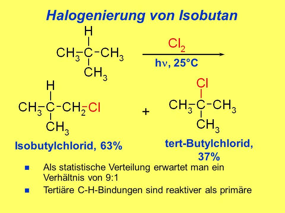 Halogenierung von Isobutan Isobutylchlorid, 63% + tert-Butylchlorid, 37% n Als statistische Verteilung erwartet man ein Verhältnis von 9:1 n Tertiäre C-H-Bindungen sind reaktiver als primäre h, 25°C