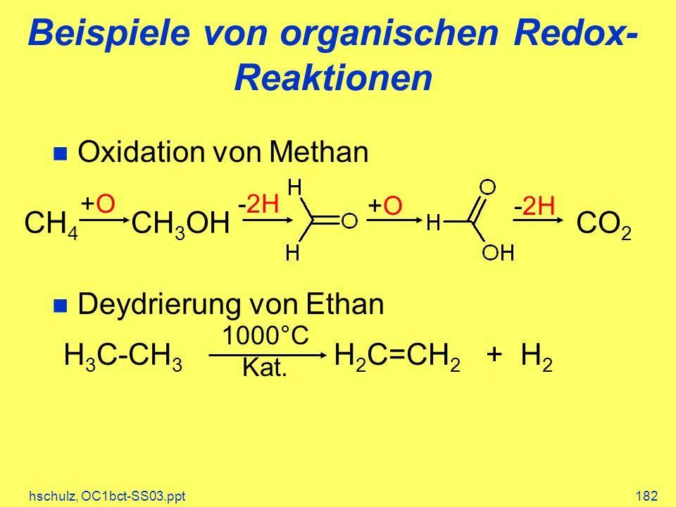 hschulz, OC1bct-SS03.ppt182 Beispiele von organischen Redox- Reaktionen Oxidation von Methan Deydrierung von Ethan CH 4 CH 3 OHCO 2 +O+O-2H +O+O H 3 C