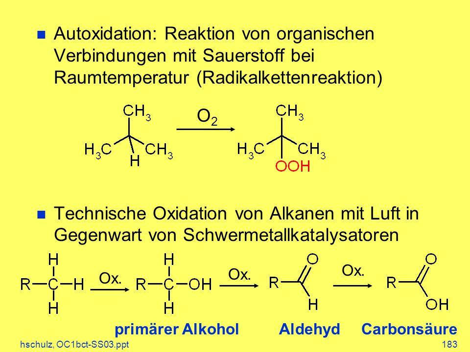 hschulz, OC1bct-SS03.ppt183 Autoxidation: Reaktion von organischen Verbindungen mit Sauerstoff bei Raumtemperatur (Radikalkettenreaktion) Technische Oxidation von Alkanen mit Luft in Gegenwart von Schwermetallkatalysatoren O2O2 Ox.