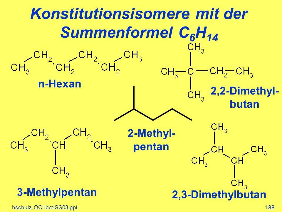 hschulz, OC1bct-SS03.ppt188 Konstitutionsisomere mit der Summenformel C 6 H 14 n-Hexan 2,2-Dimethyl- butan 3-Methylpentan 2,3-Dimethylbutan 2-Methyl-