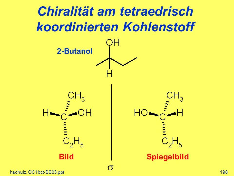 hschulz, OC1bct-SS03.ppt198 Chiralität am tetraedrisch koordinierten Kohlenstoff 2-Butanol BildSpiegelbild