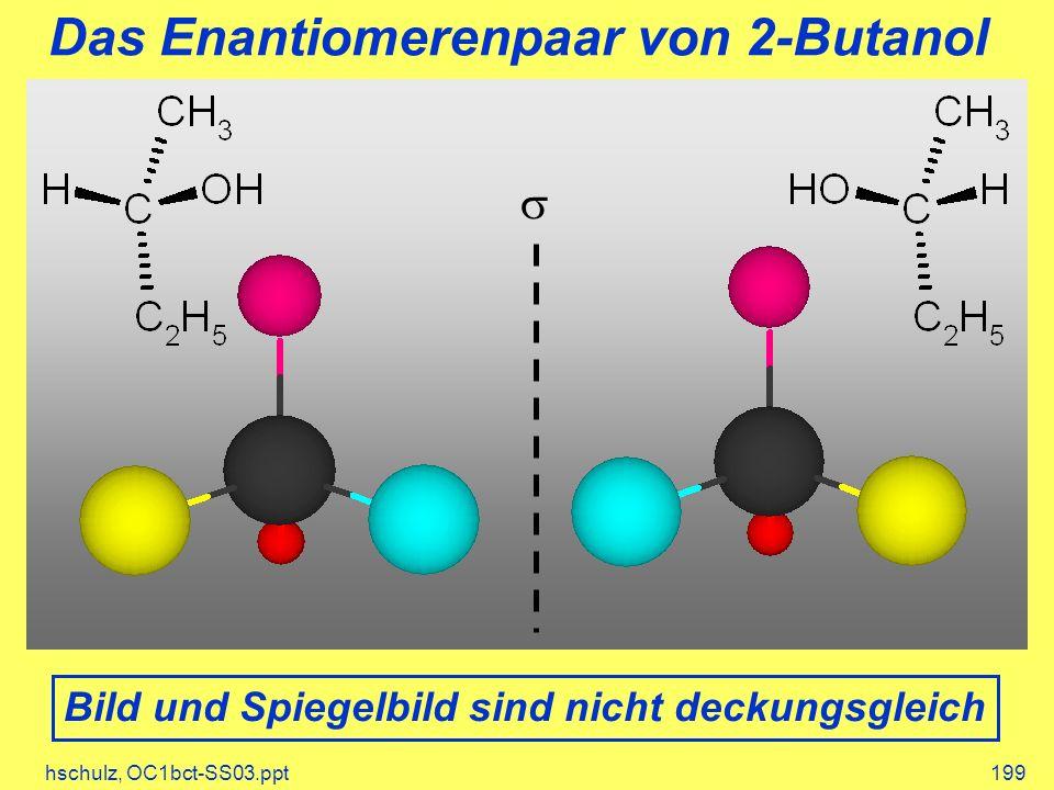 hschulz, OC1bct-SS03.ppt199 Das Enantiomerenpaar von 2-Butanol Bild und Spiegelbild sind nicht deckungsgleich