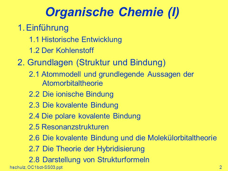 hschulz, OC1bct-SS03.ppt2 Organische Chemie (I) 1.Einführung 1.1 Historische Entwicklung 1.2 Der Kohlenstoff 2. Grundlagen (Struktur und Bindung) 2.1