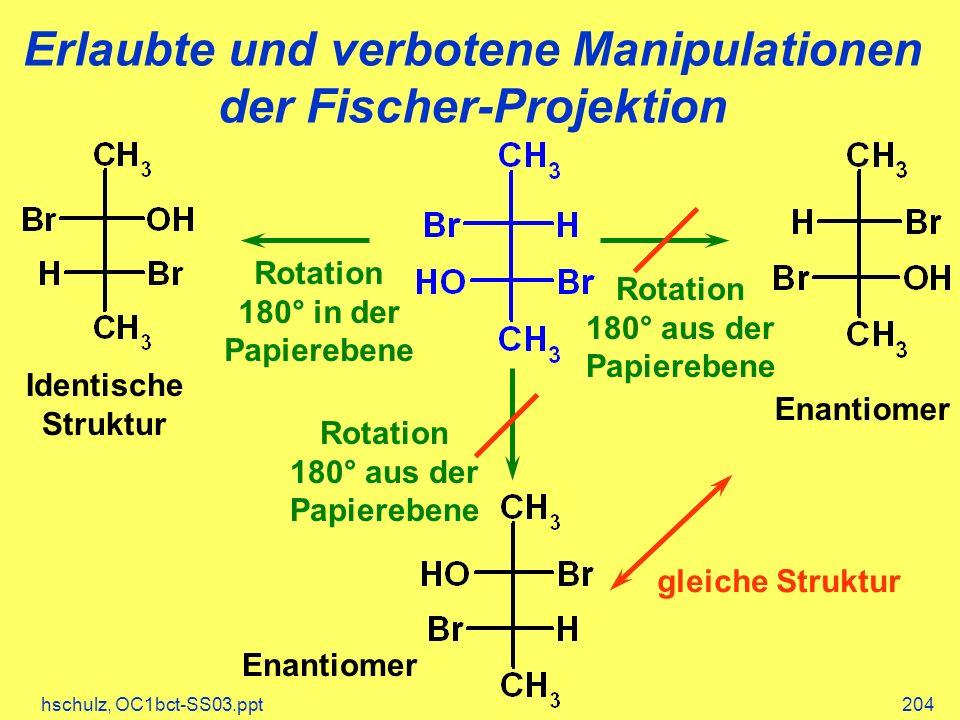 hschulz, OC1bct-SS03.ppt204 Erlaubte und verbotene Manipulationen der Fischer-Projektion Rotation 180° in der Papierebene Identische Struktur Enantiomer gleiche Struktur Rotation 180° aus der Papierebene Rotation 180° aus der Papierebene