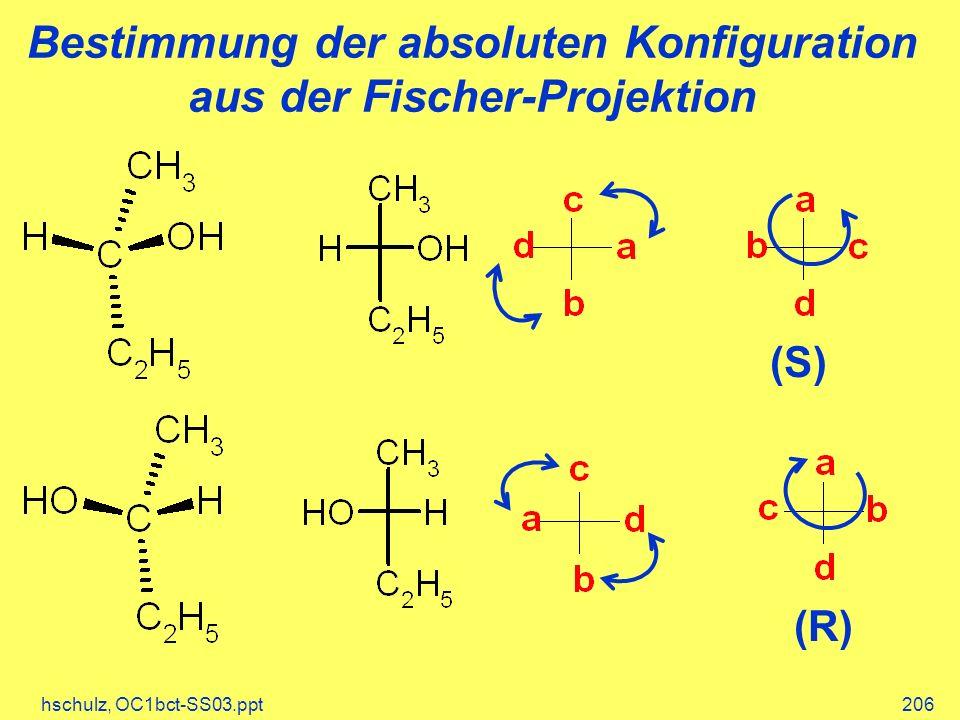 hschulz, OC1bct-SS03.ppt206 Bestimmung der absoluten Konfiguration aus der Fischer-Projektion (S) (R)