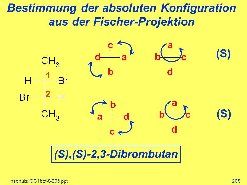 hschulz, OC1bct-SS03.ppt208 Bestimmung der absoluten Konfiguration aus der Fischer-Projektion 1 2 (S) (S),(S)-2,3-Dibrombutan