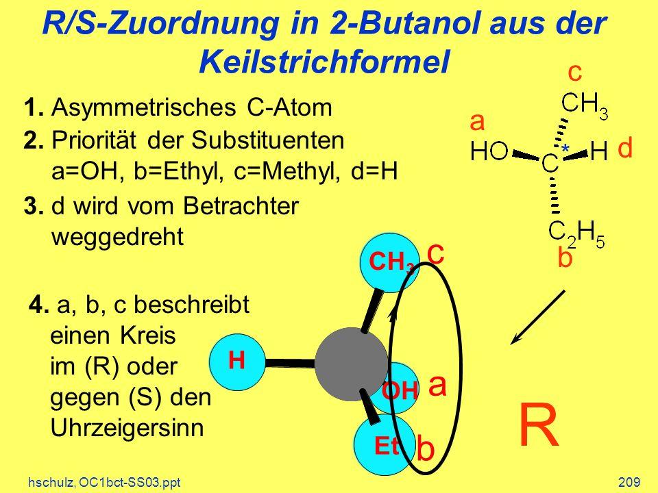 hschulz, OC1bct-SS03.ppt209 4. a, b, c beschreibt einen Kreis im (R) oder gegen (S) den Uhrzeigersinn R/S-Zuordnung in 2-Butanol aus der Keilstrichfor