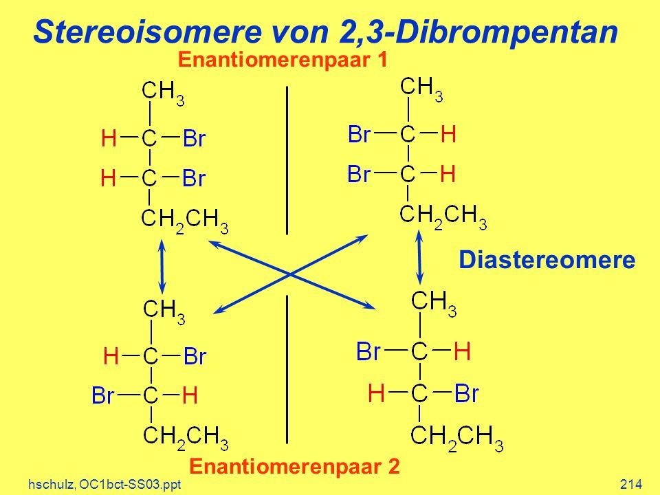 hschulz, OC1bct-SS03.ppt214 Stereoisomere von 2,3-Dibrompentan Diastereomere Enantiomerenpaar 2 Enantiomerenpaar 1