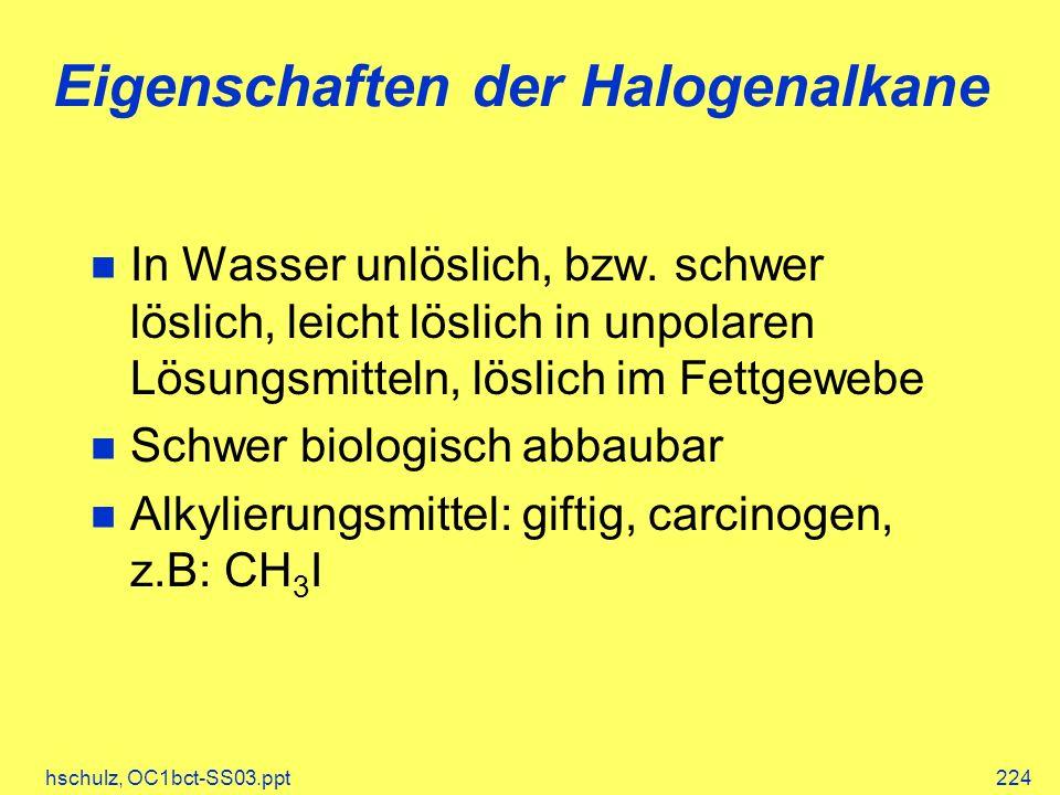 hschulz, OC1bct-SS03.ppt224 Eigenschaften der Halogenalkane In Wasser unlöslich, bzw. schwer löslich, leicht löslich in unpolaren Lösungsmitteln, lösl