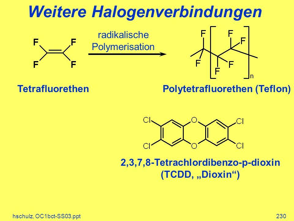 hschulz, OC1bct-SS03.ppt230 Weitere Halogenverbindungen radikalische Polymerisation TetrafluorethenPolytetrafluorethen (Teflon) 2,3,7,8-Tetrachlordibenzo-p-dioxin (TCDD, Dioxin)