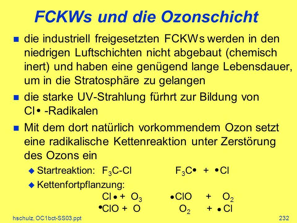 hschulz, OC1bct-SS03.ppt232 FCKWs und die Ozonschicht die industriell freigesetzten FCKWs werden in den niedrigen Luftschichten nicht abgebaut (chemisch inert) und haben eine genügend lange Lebensdauer, um in die Stratosphäre zu gelangen die starke UV-Strahlung fürhrt zur Bildung von Cl -Radikalen Mit dem dort natürlich vorkommendem Ozon setzt eine radikalische Kettenreaktion unter Zerstörung des Ozons ein Startreaktion:F 3 C-Cl F 3 C + Cl Kettenfortpflanzung: Cl + O 3 ClO + O 2 ClO + O O 2 + Cl