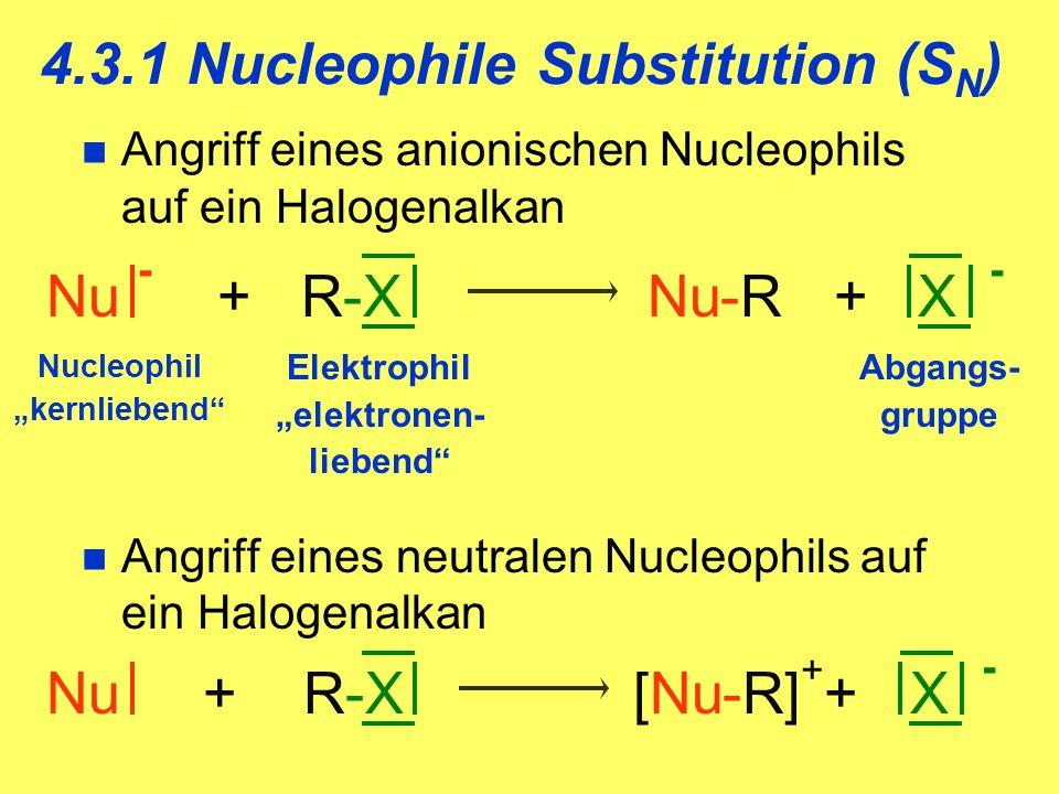Angriff eines anionischen Nucleophils auf ein Halogenalkan Angriff eines neutralen Nucleophils auf ein Halogenalkan Nu - + R-X Nu-R + X - Nucleophil kernliebend Elektrophil elektronen- liebend Abgangs- gruppe Nu + R-X [Nu-R] + + X - 4.3.1 Nucleophile Substitution (S N )