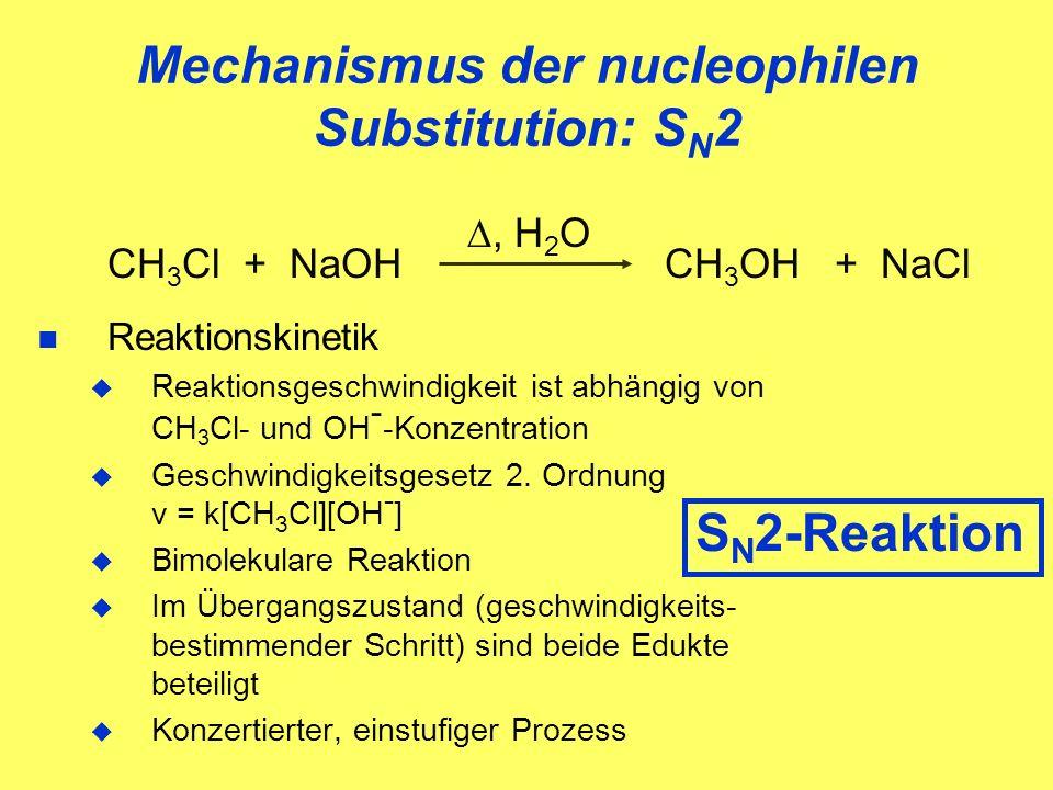 Mechanismus der nucleophilen Substitution: S N 2 CH 3 Cl + NaOH CH 3 OH + NaCl Reaktionskinetik Reaktionsgeschwindigkeit ist abhängig von CH 3 Cl- und