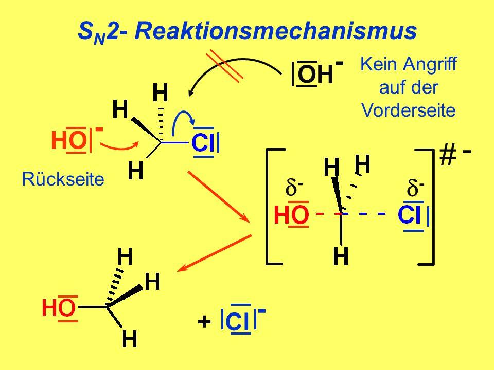 S N 2- Reaktionsmechanismus # - - + Cl - HO - Rückseite OH - Kein Angriff auf der Vorderseite -