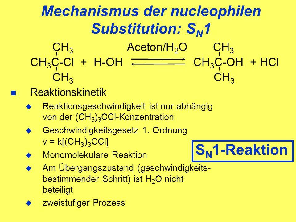 Mechanismus der nucleophilen Substitution: S N 1 CH 3 Aceton/H 2 O CH 3 CH 3 C-Cl + H-OH CH 3 C-OH + HCl CH 3 CH 3 Reaktionskinetik Reaktionsgeschwindigkeit ist nur abhängig von der (CH 3 ) 3 CCl-Konzentration Geschwindigkeitsgesetz 1.