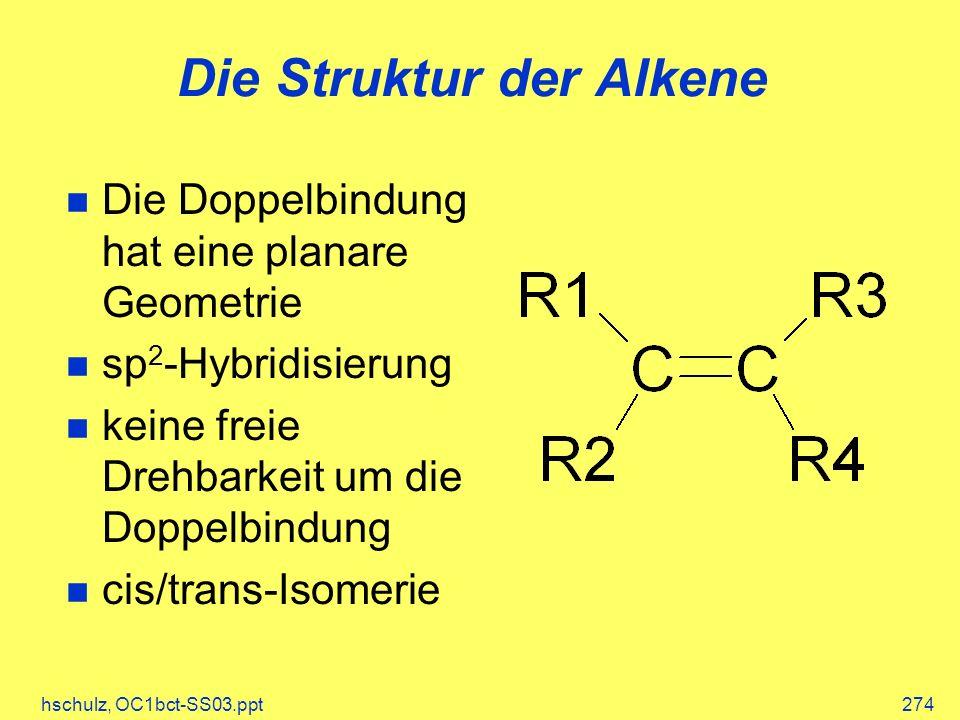 hschulz, OC1bct-SS03.ppt274 Die Struktur der Alkene Die Doppelbindung hat eine planare Geometrie sp 2 -Hybridisierung keine freie Drehbarkeit um die Doppelbindung cis/trans-Isomerie