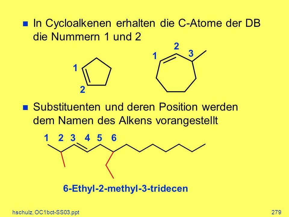 hschulz, OC1bct-SS03.ppt279 In Cycloalkenen erhalten die C-Atome der DB die Nummern 1 und 2 Substituenten und deren Position werden dem Namen des Alke