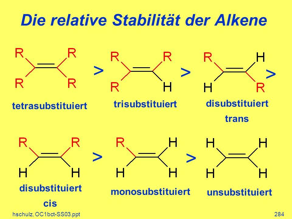 hschulz, OC1bct-SS03.ppt284 Die relative Stabilität der Alkene tetrasubstituiert > trisubstituiert > disubstituiert trans > disubstituiert cis > monosubstituiert > unsubstituiert