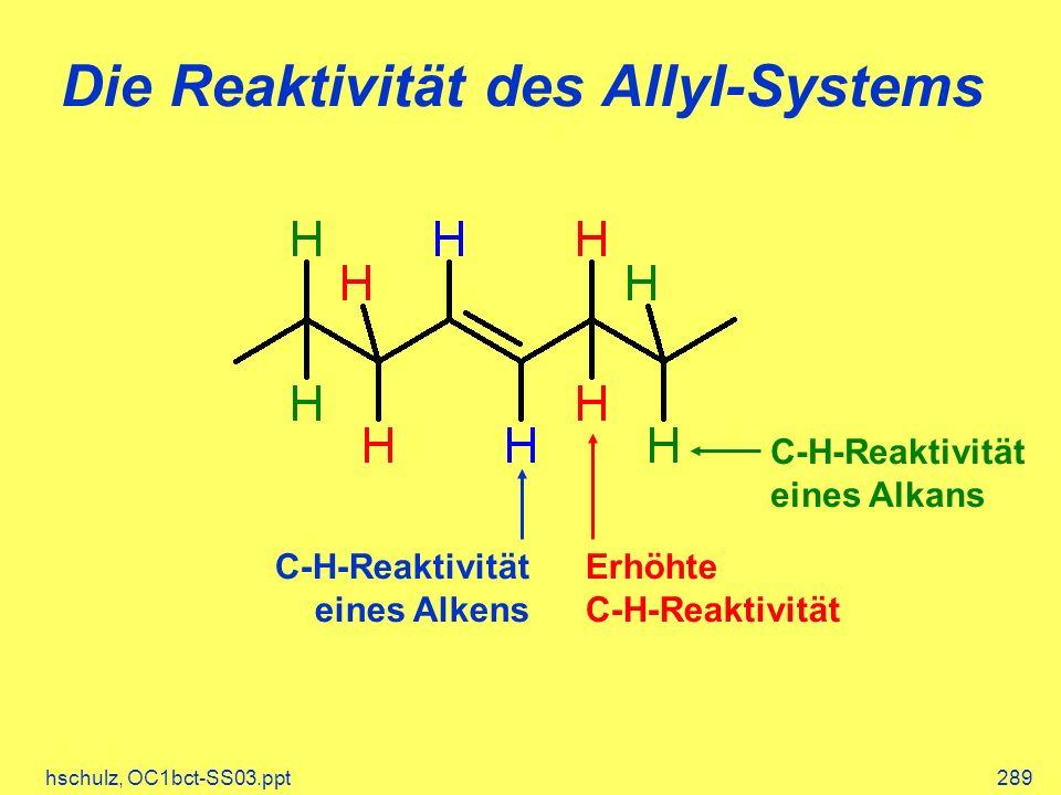 hschulz, OC1bct-SS03.ppt289 Die Reaktivität des Allyl-Systems C-H-Reaktivität eines Alkans Erhöhte C-H-Reaktivität C-H-Reaktivität eines Alkens