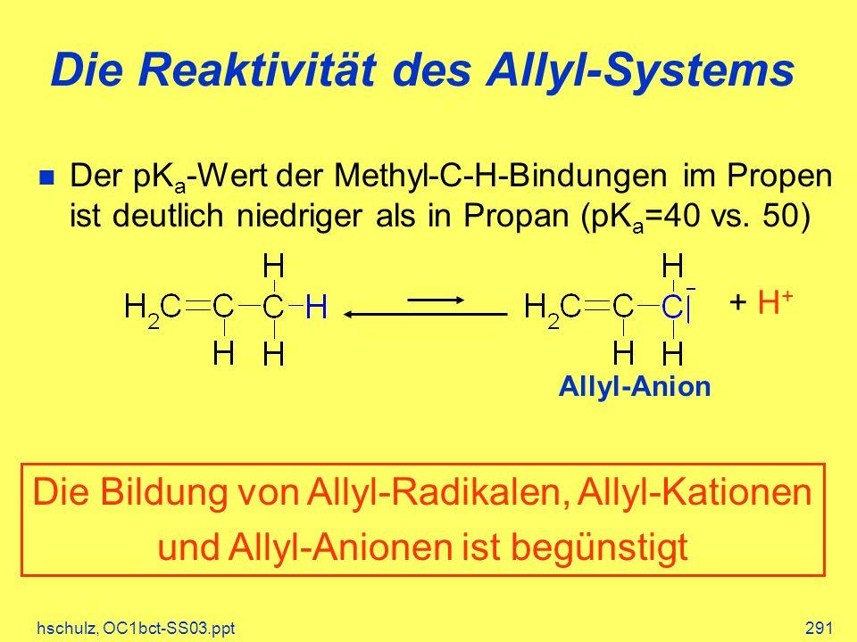 hschulz, OC1bct-SS03.ppt291 Die Reaktivität des Allyl-Systems Der pK a -Wert der Methyl-C-H-Bindungen im Propen ist deutlich niedriger als in Propan (