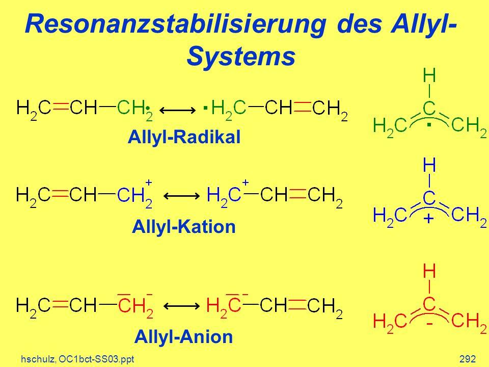 hschulz, OC1bct-SS03.ppt292 Resonanzstabilisierung des Allyl- Systems Allyl-Radikal Allyl-Kation Allyl-Anion