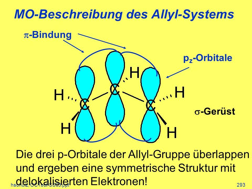 hschulz, OC1bct-SS03.ppt293 MO-Beschreibung des Allyl-Systems p z -Orbitale -Bindung -Gerüst Die drei p-Orbitale der Allyl-Gruppe überlappen und ergeben eine symmetrische Struktur mit delokalisierten Elektronen!