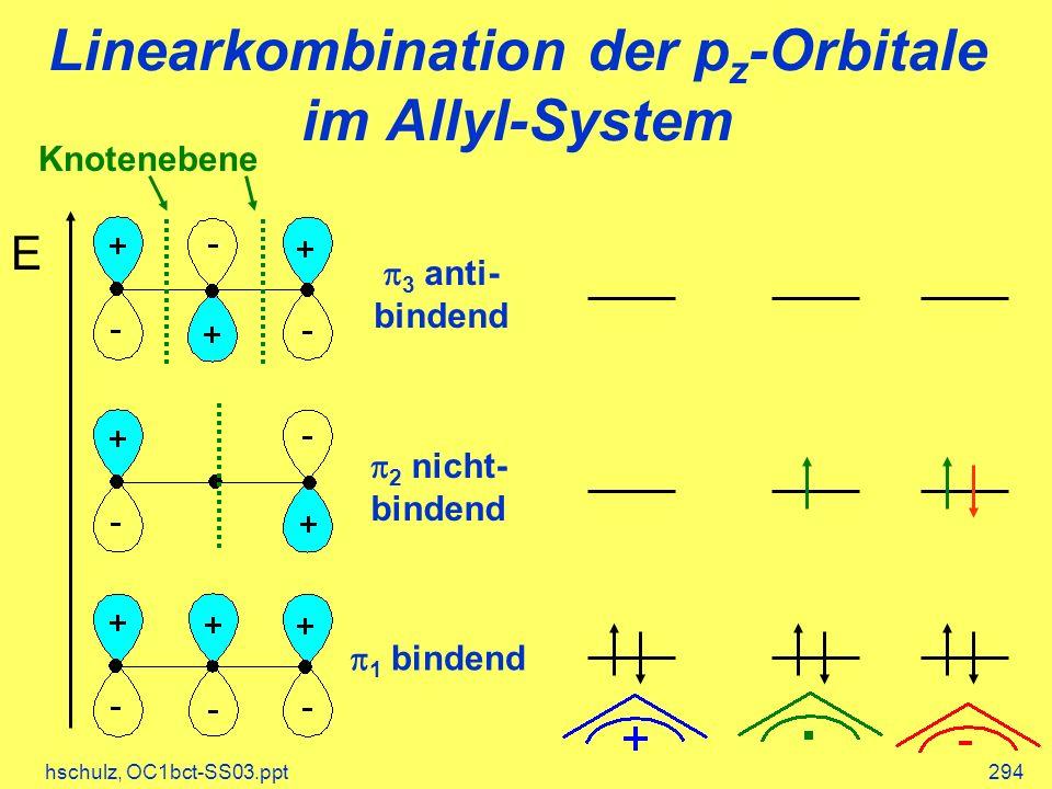 hschulz, OC1bct-SS03.ppt294 Linearkombination der p z -Orbitale im Allyl-System E 1 bindend 3 anti- bindend 2 nicht- bindend Knotenebene