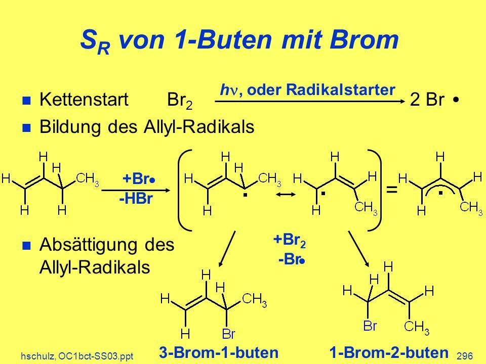 hschulz, OC1bct-SS03.ppt296 KettenstartBr 2 2 Br Bildung des Allyl-Radikals Absättigung des Allyl-Radikals S R von 1-Buten mit Brom h, oder Radikalstarter = +Br -HBr +Br 2 -Br 3-Brom-1-buten1-Brom-2-buten