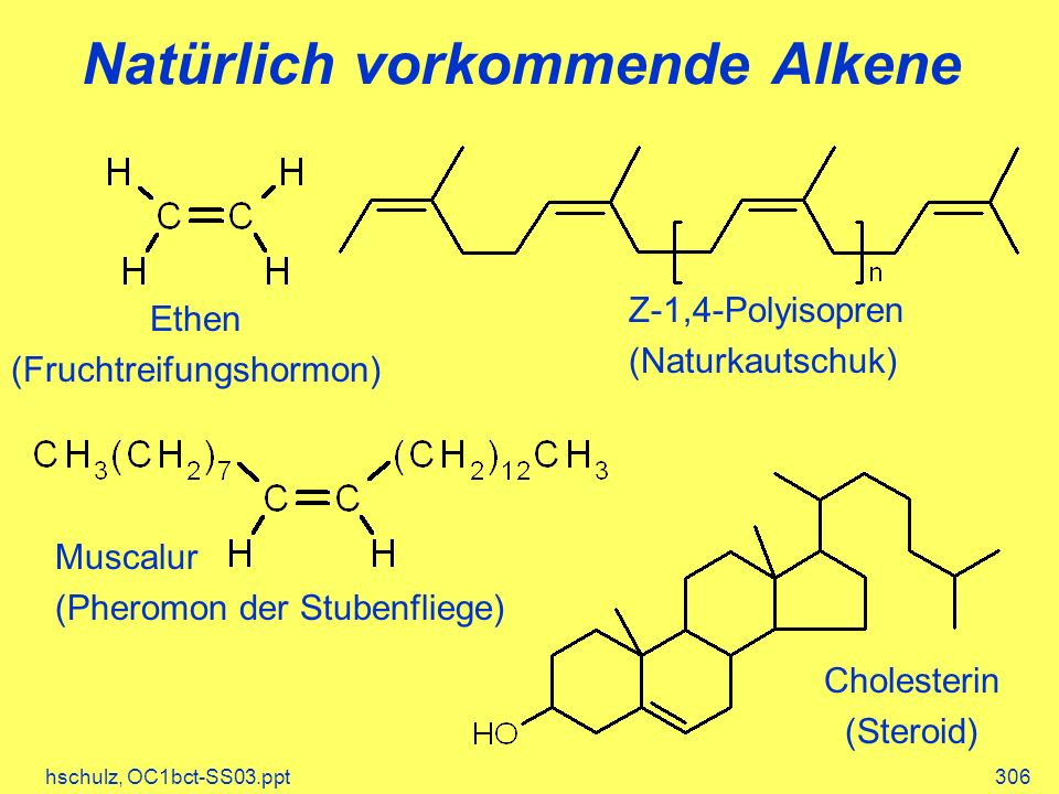 hschulz, OC1bct-SS03.ppt306 Natürlich vorkommende Alkene Z-1,4-Polyisopren (Naturkautschuk) Ethen (Fruchtreifungshormon) Muscalur (Pheromon der Stuben