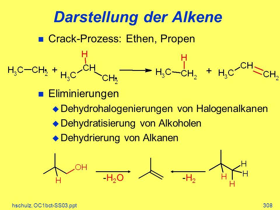 hschulz, OC1bct-SS03.ppt308 Darstellung der Alkene Crack-Prozess: Ethen, Propen Eliminierungen Dehydrohalogenierungen von Halogenalkanen Dehydratisier