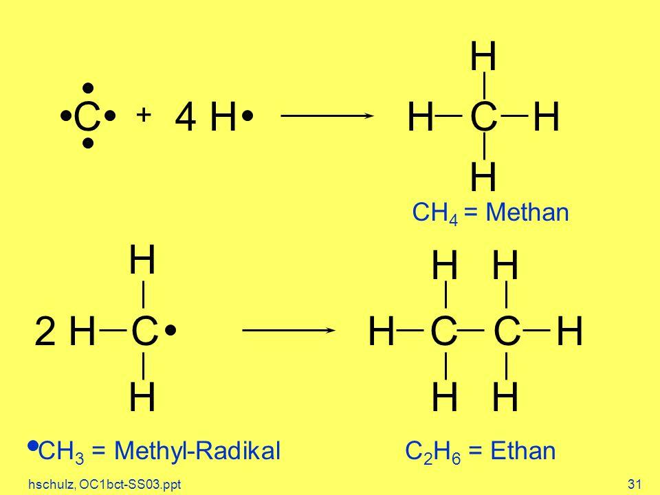 hschulz, OC1bct-SS03.ppt31 C + 4 H H C H H H 2 H C H C C H H H H HH H CH 4 = Methan CH 3 = Methyl-Radikal C 2 H 6 = Ethan