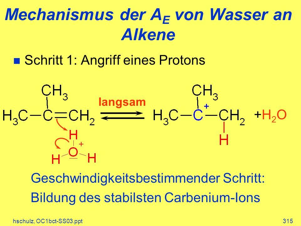 hschulz, OC1bct-SS03.ppt315 Mechanismus der A E von Wasser an Alkene langsam +H2O +H2O Geschwindigkeitsbestimmender Schritt: Bildung des stabilsten Carbenium-Ions Schritt 1: Angriff eines Protons