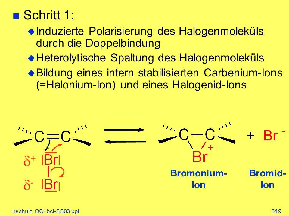 hschulz, OC1bct-SS03.ppt319 Bromid- Ion + Br - + - Bromonium- Ion Schritt 1: Induzierte Polarisierung des Halogenmoleküls durch die Doppelbindung Heterolytische Spaltung des Halogenmoleküls Bildung eines intern stabilisierten Carbenium-Ions (=Halonium-Ion) und eines Halogenid-Ions