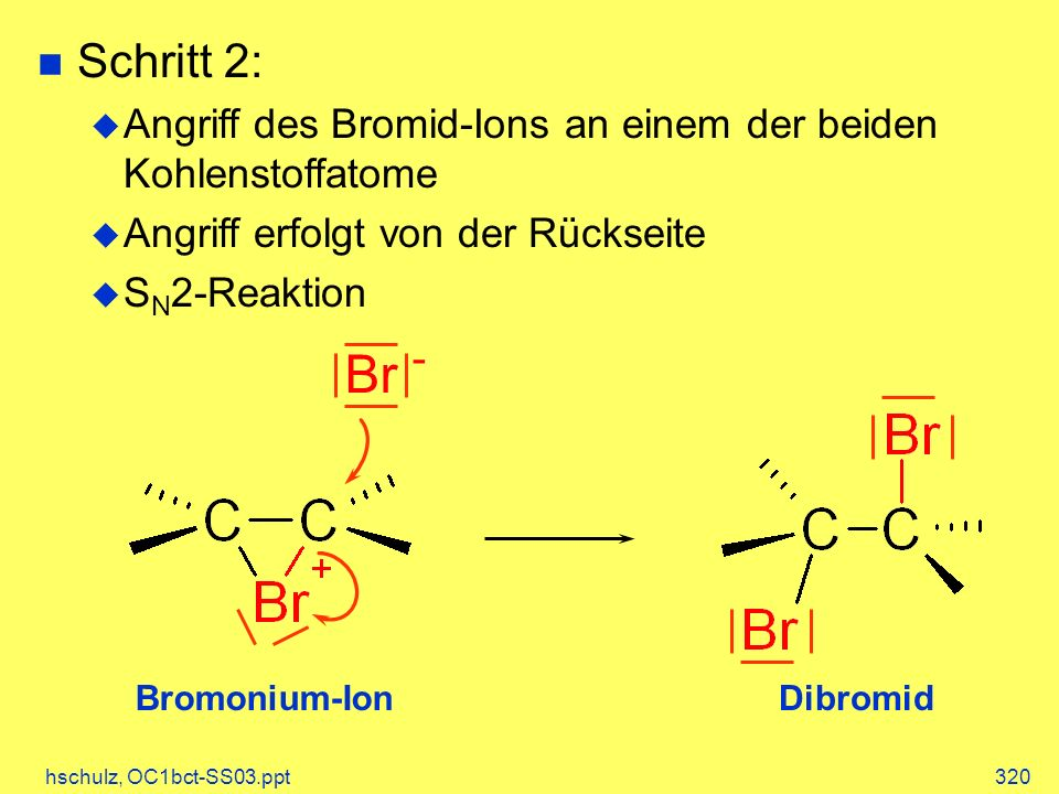 hschulz, OC1bct-SS03.ppt320 Bromonium-IonDibromid Br - Schritt 2: Angriff des Bromid-Ions an einem der beiden Kohlenstoffatome Angriff erfolgt von der Rückseite S N 2-Reaktion