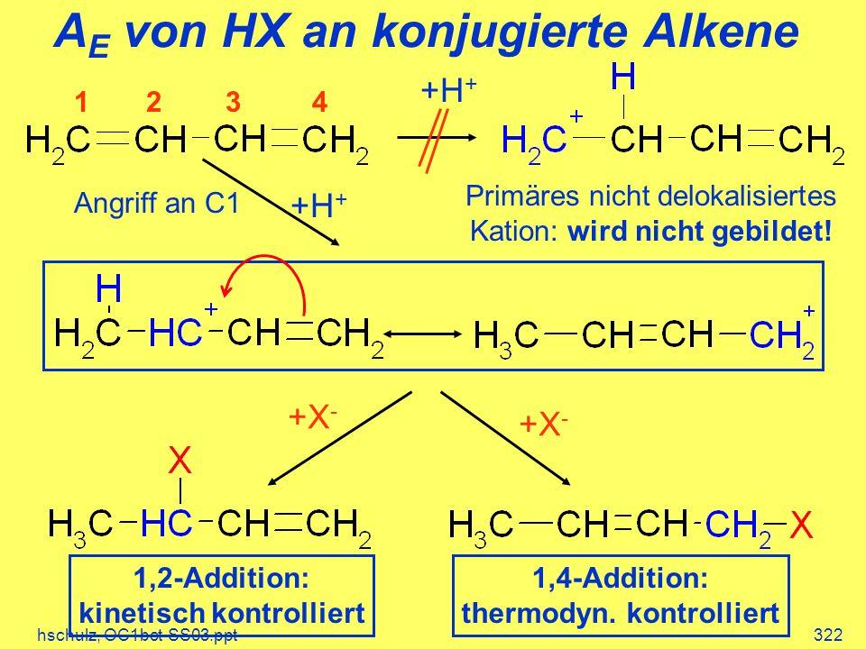 hschulz, OC1bct-SS03.ppt322 A E von HX an konjugierte Alkene 1234 +H + Primäres nicht delokalisiertes Kation: wird nicht gebildet! +H + Angriff an C1